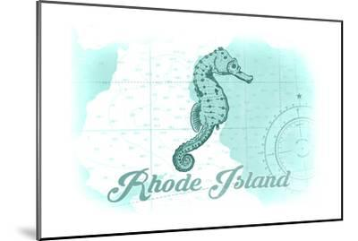 Rhode Island - Seahorse - Teal - Coastal Icon-Lantern Press-Mounted Art Print