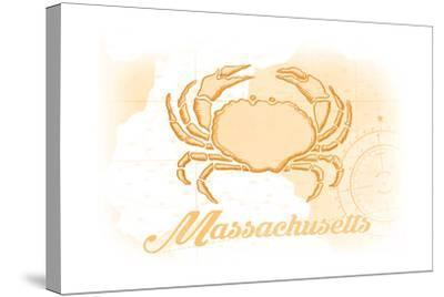 Massachusetts - Crab - Yellow - Coastal Icon-Lantern Press-Stretched Canvas Print