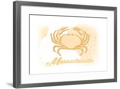 Massachusetts - Crab - Yellow - Coastal Icon-Lantern Press-Framed Art Print
