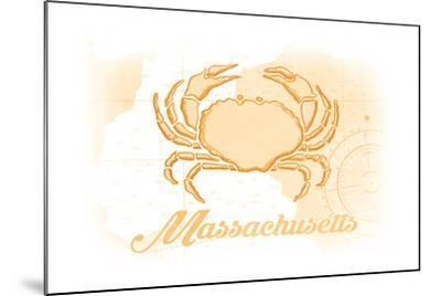 Massachusetts - Crab - Yellow - Coastal Icon-Lantern Press-Mounted Art Print