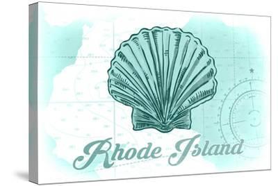 Rhode Island - Scallop Shell - Teal - Coastal Icon-Lantern Press-Stretched Canvas Print