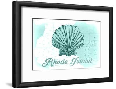 Rhode Island - Scallop Shell - Teal - Coastal Icon-Lantern Press-Framed Art Print