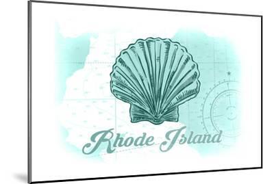 Rhode Island - Scallop Shell - Teal - Coastal Icon-Lantern Press-Mounted Art Print