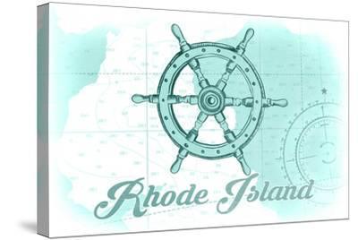 Rhode Island - Ship Wheel - Teal - Coastal Icon-Lantern Press-Stretched Canvas Print