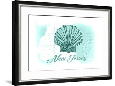 New Jersey - Scallop Shell - Teal - Coastal Icon-Lantern Press-Framed Art Print