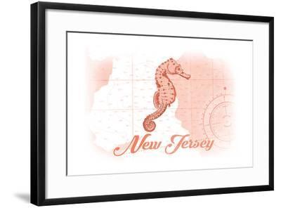 New Jersey - Seahorse - Coral - Coastal Icon-Lantern Press-Framed Art Print
