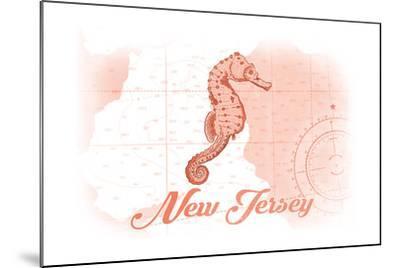New Jersey - Seahorse - Coral - Coastal Icon-Lantern Press-Mounted Art Print