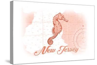 New Jersey - Seahorse - Coral - Coastal Icon-Lantern Press-Stretched Canvas Print