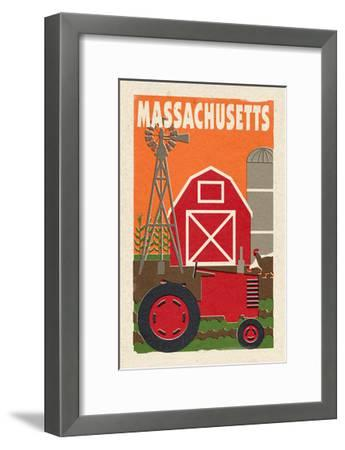 Massachusetts - Country - Woodblock-Lantern Press-Framed Art Print