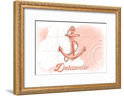 Delaware - Anchor - Coral - Coastal Icon-Lantern Press-Framed Art Print
