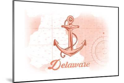 Delaware - Anchor - Coral - Coastal Icon-Lantern Press-Mounted Art Print