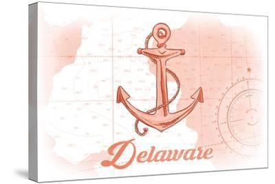 Delaware - Anchor - Coral - Coastal Icon-Lantern Press-Stretched Canvas Print