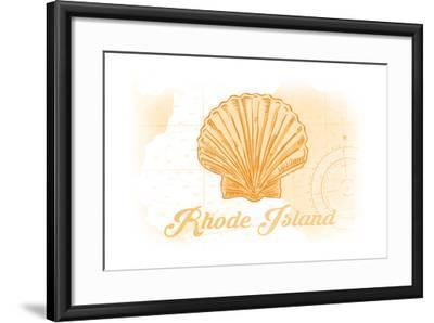 Rhode Island - Scallop Shell - Yellow - Coastal Icon-Lantern Press-Framed Art Print