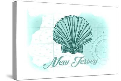 New Jersey - Scallop Shell - Teal - Coastal Icon-Lantern Press-Stretched Canvas Print