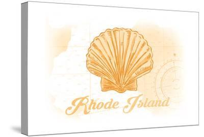 Rhode Island - Scallop Shell - Yellow - Coastal Icon-Lantern Press-Stretched Canvas Print