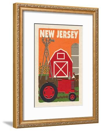 New Jersey - Country - Woodblock-Lantern Press-Framed Art Print