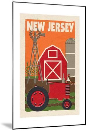 New Jersey - Country - Woodblock-Lantern Press-Mounted Art Print