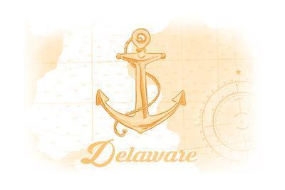 Delaware - Anchor - Yellow - Coastal Icon-Lantern Press-Framed Art Print