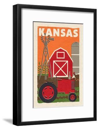 Kansas - Country - Woodblock-Lantern Press-Framed Art Print