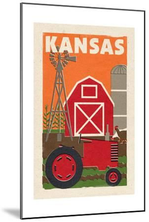 Kansas - Country - Woodblock-Lantern Press-Mounted Art Print