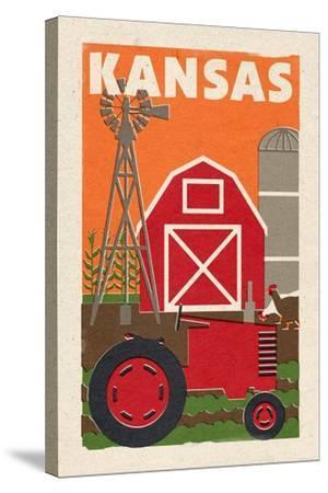 Kansas - Country - Woodblock-Lantern Press-Stretched Canvas Print