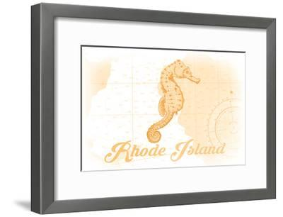 Rhode Island - Seahorse - Yellow - Coastal Icon-Lantern Press-Framed Art Print