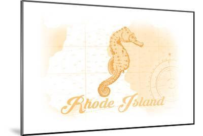 Rhode Island - Seahorse - Yellow - Coastal Icon-Lantern Press-Mounted Art Print