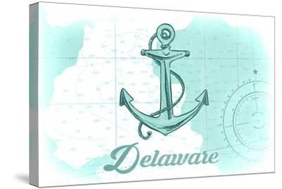 Delaware - Anchor - Teal - Coastal Icon-Lantern Press-Stretched Canvas Print