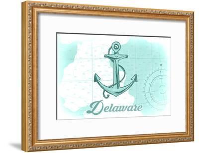 Delaware - Anchor - Teal - Coastal Icon-Lantern Press-Framed Art Print