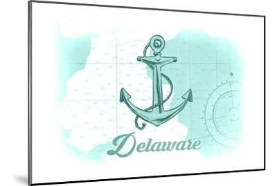 Delaware - Anchor - Teal - Coastal Icon-Lantern Press-Mounted Art Print