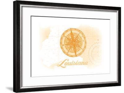 Louisiana - Compass - Yellow - Coastal Icon-Lantern Press-Framed Art Print