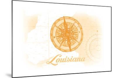 Louisiana - Compass - Yellow - Coastal Icon-Lantern Press-Mounted Art Print