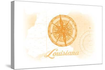 Louisiana - Compass - Yellow - Coastal Icon-Lantern Press-Stretched Canvas Print