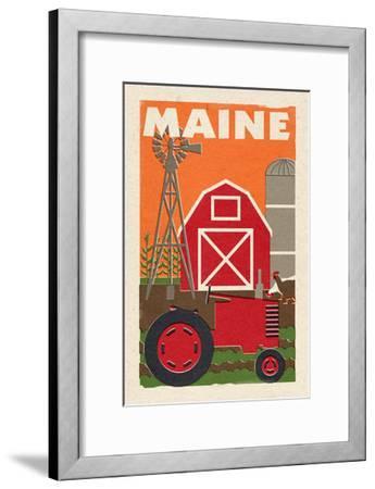 Maine - Country - Woodblock-Lantern Press-Framed Art Print