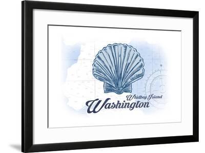 Whidbey Island, Washington - Scallop Shell - Blue - Coastal Icon-Lantern Press-Framed Art Print