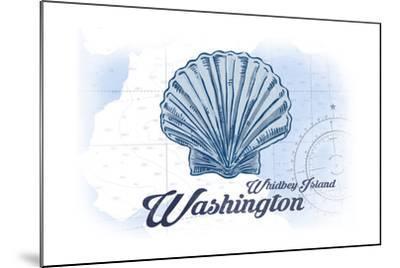 Whidbey Island, Washington - Scallop Shell - Blue - Coastal Icon-Lantern Press-Mounted Art Print