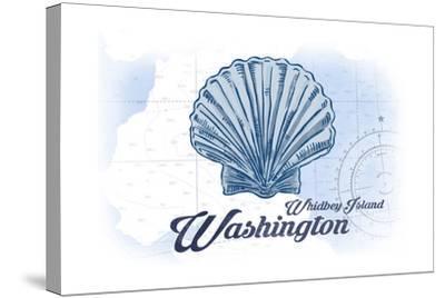 Whidbey Island, Washington - Scallop Shell - Blue - Coastal Icon-Lantern Press-Stretched Canvas Print