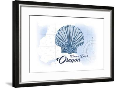 Cannon Beach, Oregon - Scallop Shell - Blue - Coastal Icon-Lantern Press-Framed Art Print