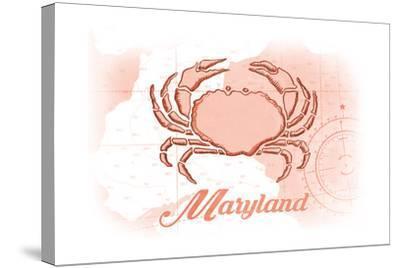 Maryland - Crab - Coral - Coastal Icon-Lantern Press-Stretched Canvas Print