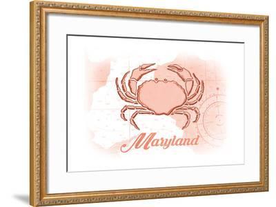 Maryland - Crab - Coral - Coastal Icon-Lantern Press-Framed Art Print