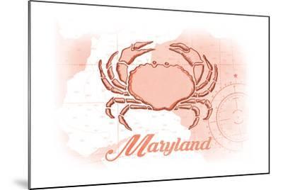 Maryland - Crab - Coral - Coastal Icon-Lantern Press-Mounted Art Print