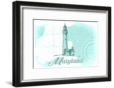 Maryland - Lighthouse - Teal - Coastal Icon-Lantern Press-Framed Art Print