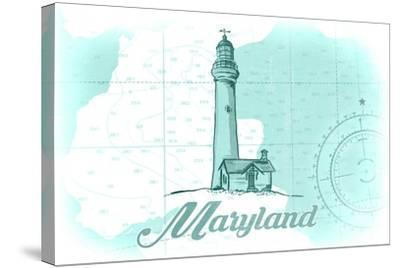 Maryland - Lighthouse - Teal - Coastal Icon-Lantern Press-Stretched Canvas Print