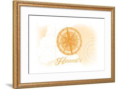 Hawaii - Compass - Yellow - Coastal Icon-Lantern Press-Framed Art Print