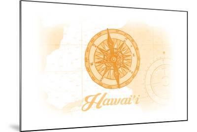 Hawaii - Compass - Yellow - Coastal Icon-Lantern Press-Mounted Art Print