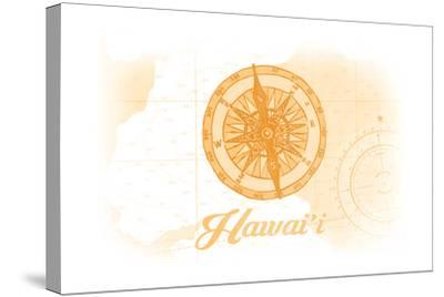 Hawaii - Compass - Yellow - Coastal Icon-Lantern Press-Stretched Canvas Print
