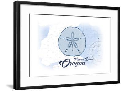 Cannon Beach, Oregon - Sand Dollar - Blue - Coastal Icon-Lantern Press-Framed Art Print