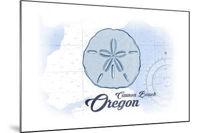 Cannon Beach, Oregon - Sand Dollar - Blue - Coastal Icon-Lantern Press-Mounted Art Print