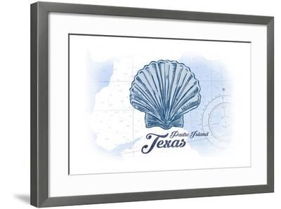 Padre Island, Texas - Scallop Shell - Blue - Coastal Icon-Lantern Press-Framed Art Print