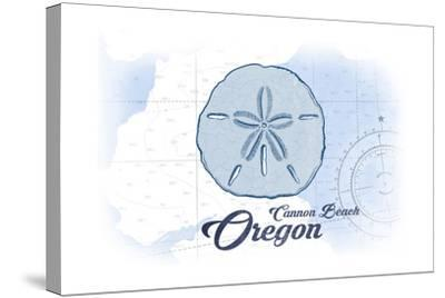 Cannon Beach, Oregon - Sand Dollar - Blue - Coastal Icon-Lantern Press-Stretched Canvas Print